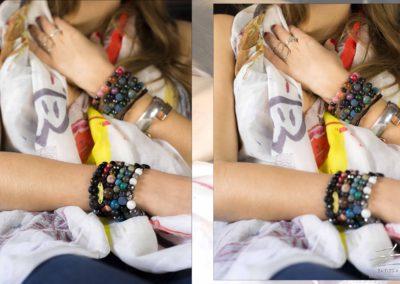 Bracelets et chèche (50% Soie 50% Coton, édition limitée)
